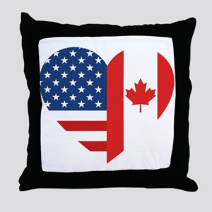 Canadian American Flag Love Throw Pillow